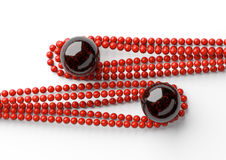 Red beautiful beads with big black pearl on white background Royalty Free Stock Photography