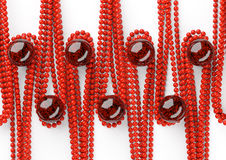 Red beautiful beads with big black pearl on white background Royalty Free Stock Photos