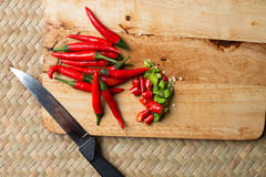 Red beautiful chilli cut slide Thai traditional way food cooking Royalty Free Stock Photography