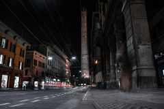 The Red beautiful city of Bologna stock photography