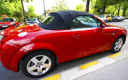 Red cabriolet. A red beautiful convertible car Stock Photography