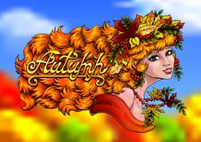 Girl autumn color and letter Autumn. The red beautiful girl with a wreath from leaves and berries of a mountain ash colorfull and lettering autumn on indistinct Stock Image