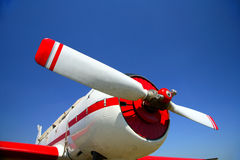 The red beautiful propeller. Of background blue sky Royalty Free Stock Photography