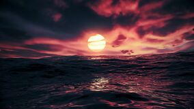 Red beautiful sunset over ocean seamless loop with red sky and sea with waves