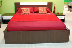 Red bed and pillow Stock Image