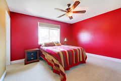 Bright Bedroom With Cherry Wood Furniture Stock Photos ...
