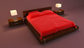 Red bedroom interior 3d Stock Photo