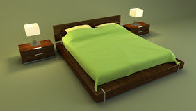 Red bedroom interior 3d Royalty Free Stock Images
