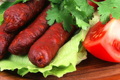 Red beef sausages Stock Photo