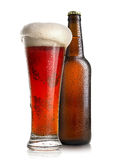 Red beer and bottle Stock Image