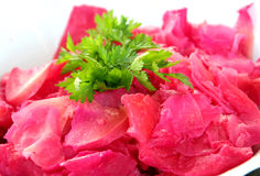 Red beet. Food from beetroot and persley for decoration. Cooked red beet cooled and makes on the salad with nature oil and flavour with spices Royalty Free Stock Photography
