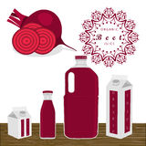 The red beet. Abstract vector illustration logo for whole ripe vegetables red beet with cut sliced background glass. Beet drawing consisting of tag label peel Royalty Free Stock Images