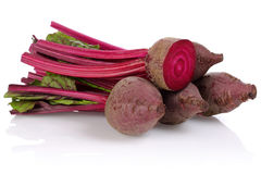 Red Beet root. Isolated on white background stock photos