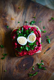 Red beet root pesto sandwich, spread with parsley and quail egg Royalty Free Stock Photos