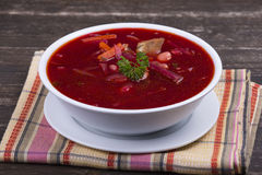 Red beet soup, borscht on the table Royalty Free Stock Image