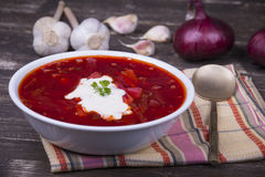 Red beet soup, borscht on the table Stock Photo