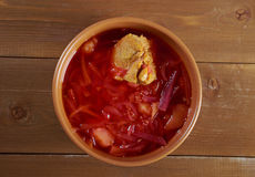 Red-beet soup (borscht) Stock Images