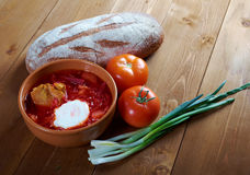 Red-beet soup (borscht) Royalty Free Stock Image