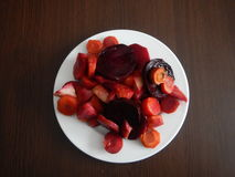 Red beet and vegetable salad Stock Images