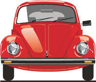 Red beetle front. Cartoon of a red volskwagen beetle Stock Images