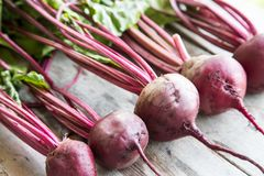 Red Beetroot with herbage green leaves on rustic background. Org Stock Photography