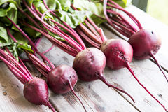 Red Beetroot with herbage green leaves on rustic background. Org Stock Image