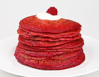 Red beetroot pancakes Stock Photography