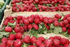 Red beets in a grocery Stock Image