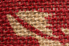 Red and beige carpet texture. Macro red and beige carpet texture Stock Photo