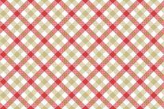 Red beige check diagonal fabric texture background seamless patt Stock Photos