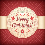 Red and Beige Christmas Greeting Card with Ornaments and Text Royalty Free Stock Photo