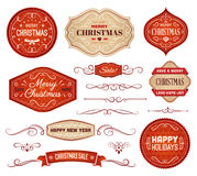 Red and Beige Christmas Labels and Ornaments Royalty Free Stock Photos