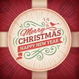 Red and Beige Christmas and New Year's Greeting Card Royalty Free Stock Image