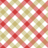 Red beige diagonal checkered plaid seamless pattern. Vector illustration. EPS 10 Royalty Free Stock Photography
