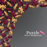 Red and beige elements of puzzles on a dark gradient background. Royalty Free Stock Photo