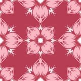 Red and beige floral background. Colored seamless pattern. For wallpapers, textile and fabrics Royalty Free Stock Photography