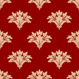Red and beige floral seamless patern Royalty Free Stock Photography