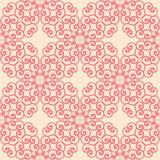 Red and beige floral seamless pattern. Red and beige floral ornament. Seamless pattern for textile and wallpapers Stock Images