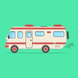 Red and beige travel camper van  on green background. Concept of outdoor recreation and travel around the world. flat style design trendy modern vector Royalty Free Stock Images
