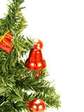 Red bell, baubles hanging on Christmas tree Stock Photos