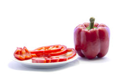 Red bell chili different sliced cooking ingredient with raw mate Royalty Free Stock Image