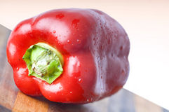 Red bell pepper. A red bell pepper on a wood cutting board stock photo