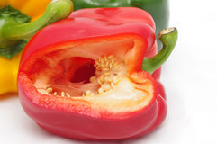 Red bell pepper. Fresh, shiny and juicy, isolated on white background Royalty Free Stock Photo