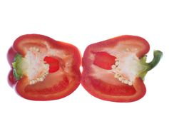 Red Bell Pepper Cut in Half Stock Image