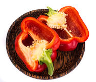 Red bell pepper in cut with seeds Stock Photo
