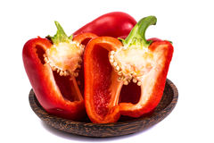 Red bell pepper in cut with seeds Royalty Free Stock Photos