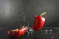 Red bell pepper dropped splashing water Royalty Free Stock Photos