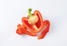 Red bell pepper half Stock Images