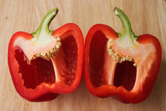 Red bell pepper halved stock photography
