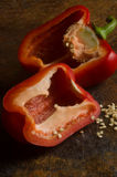 Red bell pepper with seeds Stock Photo